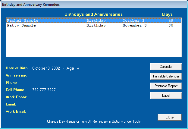 Birthday Reminders for our EZ Home and Office Address Book Software
