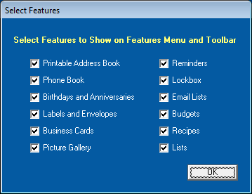 Select Address Book Features